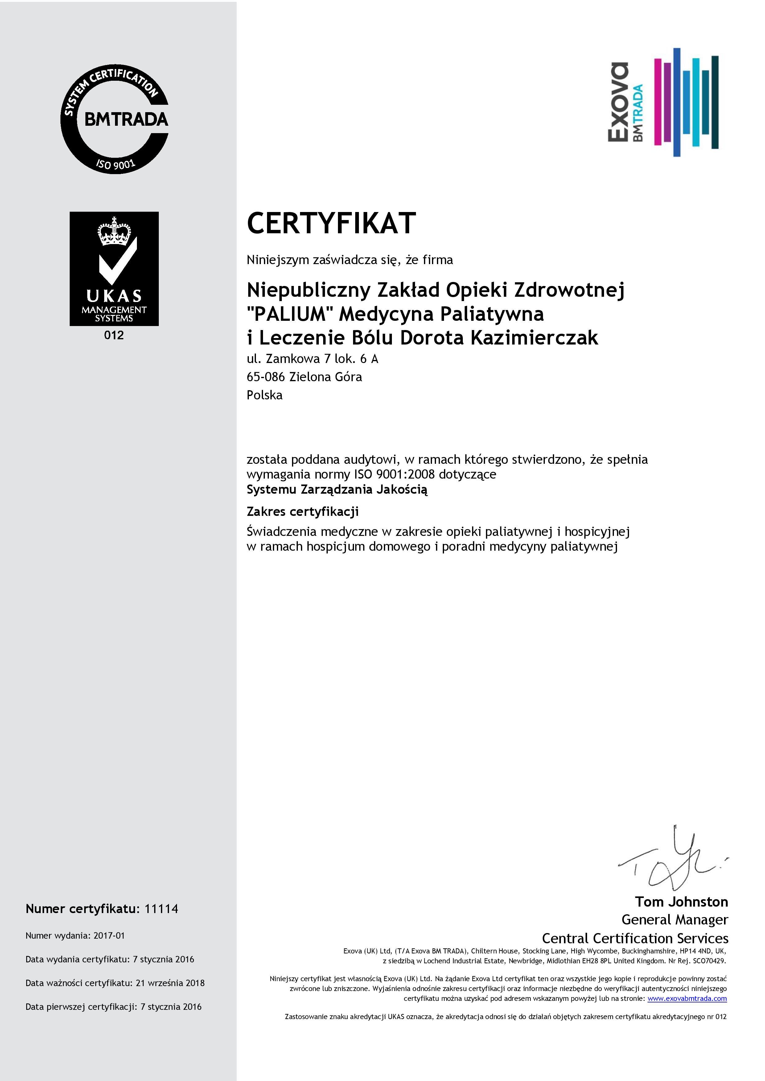 Ilustracja do informacji: Certyfikat ISO